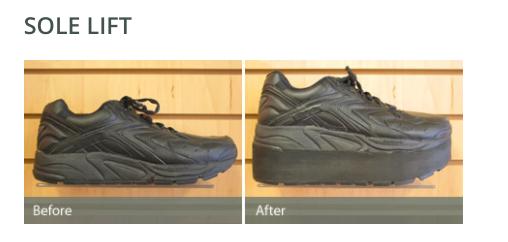 Sole lift custom shoe modification